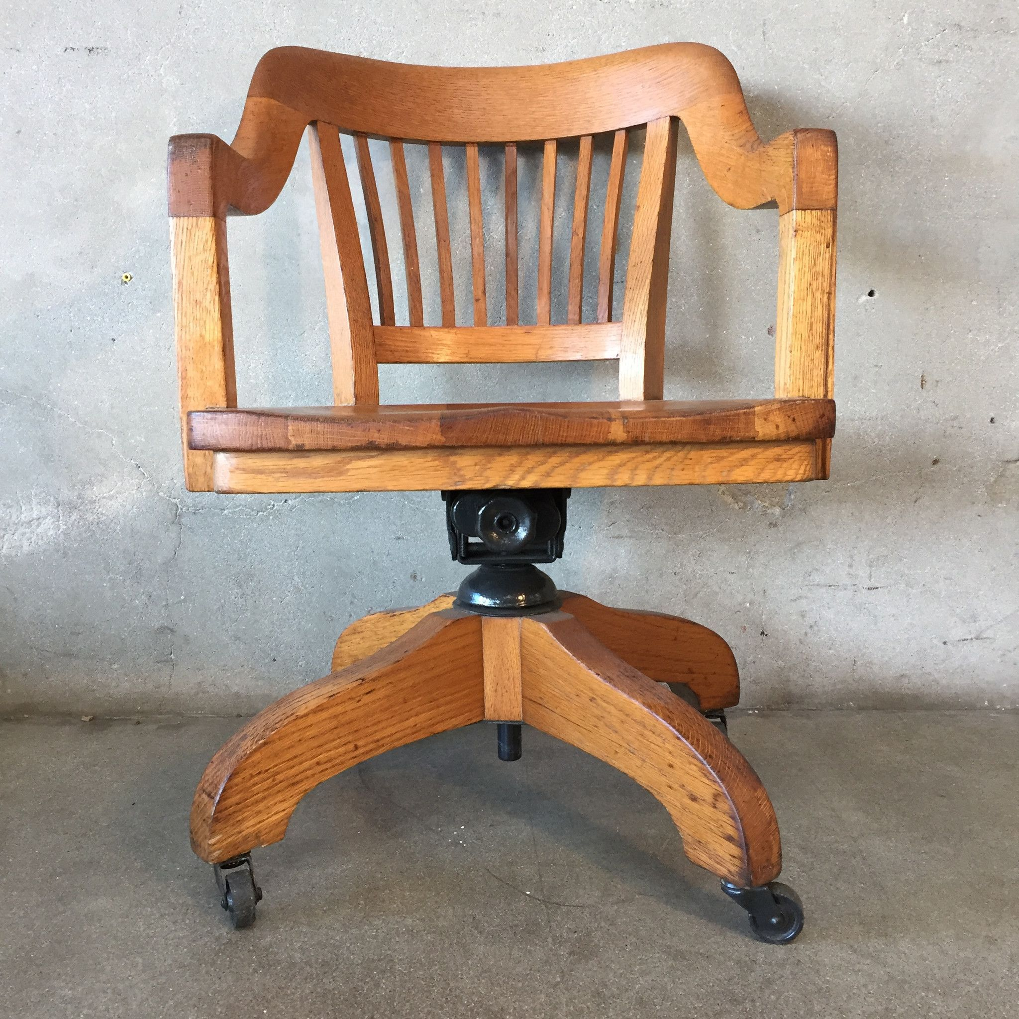 Oak 1940 S Captains Desk Chair Office Space Pinterest Desks  # Muebles Fischel