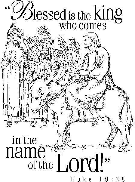 Jesus on donkey entering city with Luke 19:38 verse coloring sheet ...