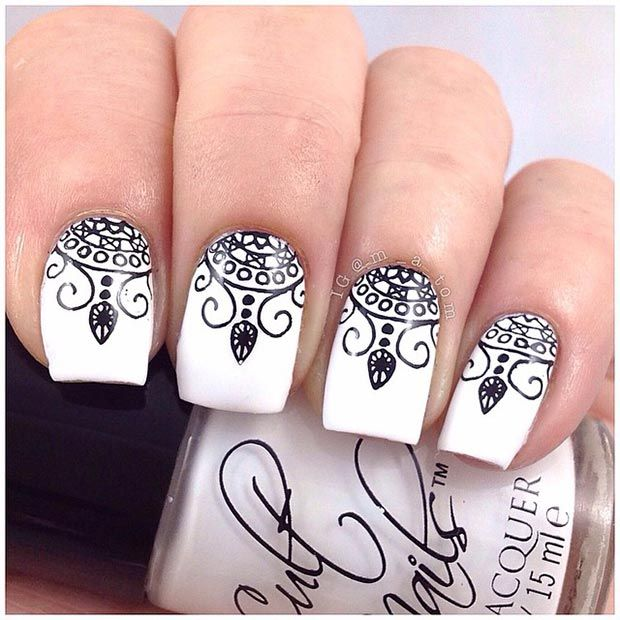 50 Best Black And White Nail Designs Nails White Nail Designs