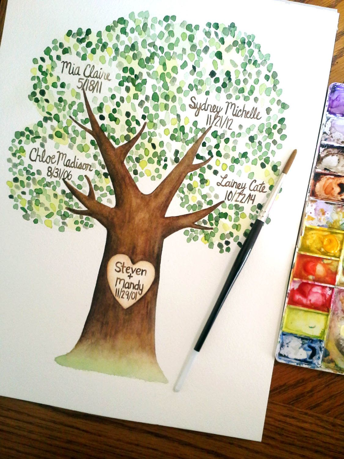Custom Family Tree Painting Personalized Hand Painted Handmade Original Watercolor Parents