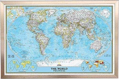 Framed national geographic classic world 24x36 map in rea https framed world map by national geographic map of the world mahogany wood frame push pins gumiabroncs Gallery
