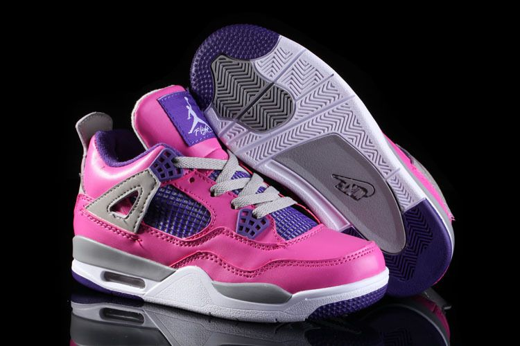 on sale 1a878 af1cf Kids Air Jordan 4 GS Pink Purple Grey in 2019 | Kids Air ...