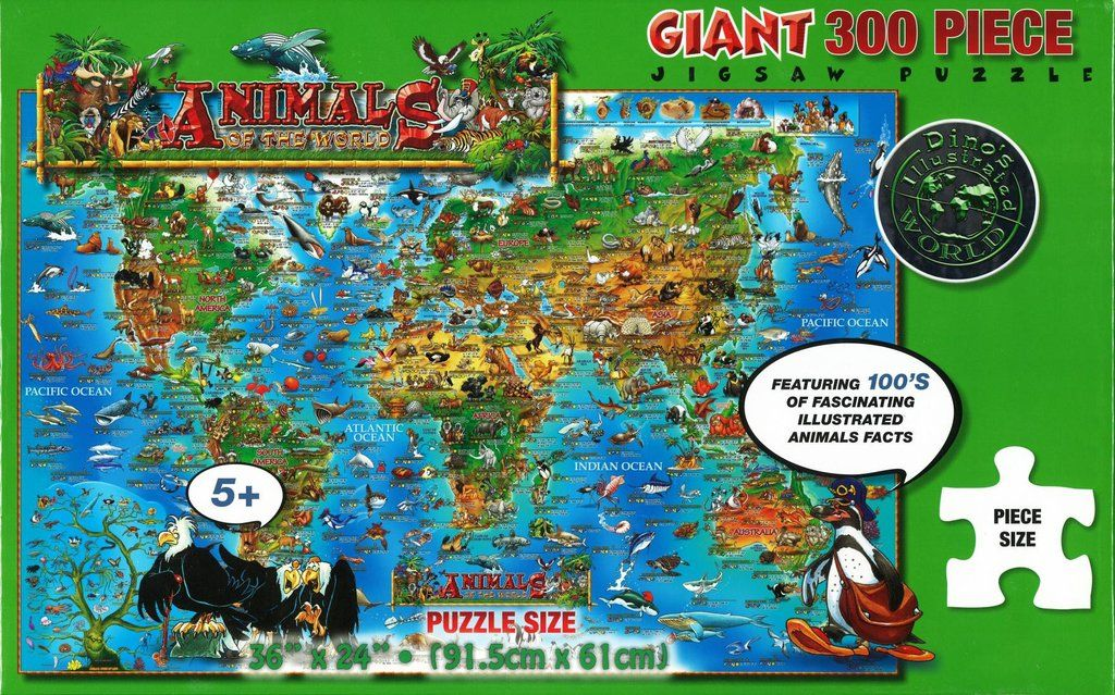 Dinos Animals of the World, 300 Piece Puzzle by Dino Maps ...