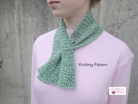 Keyhole Scarflette Pdf Knitting Pattern Easy Knit Short Scarf