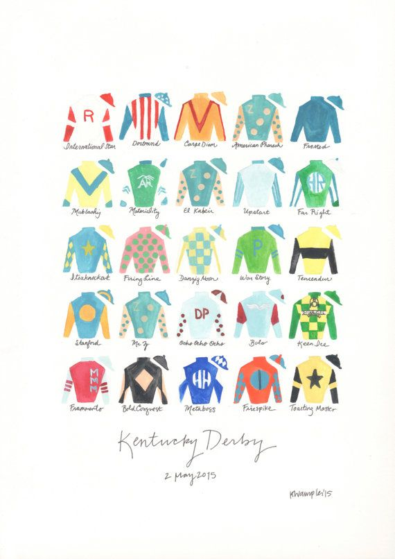Kentucky Derby 141 11x14 Jockey Silks Signed Print Kentucky Derby Kentucky Art Derby