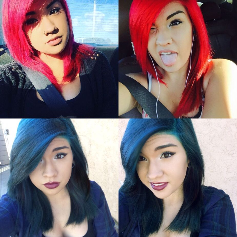 Took her all the way from hot pink to red and now teal an