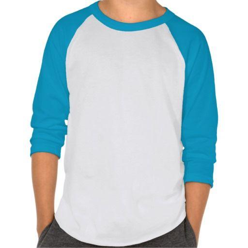 Plain Kids' American Apparel Raglan Neon Blue/Whi Tee Shirts