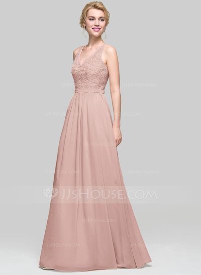 A-Line/Princess V-neck Floor-Length Zipper Up Regular Straps Sleeveless Champagne Spring Summer Fall General Plus Chiffon Height:5.7ft Bust:33in Waist:24in Hips:34in US 2 / UK 6 / EU 32 Bridesmaid Dress