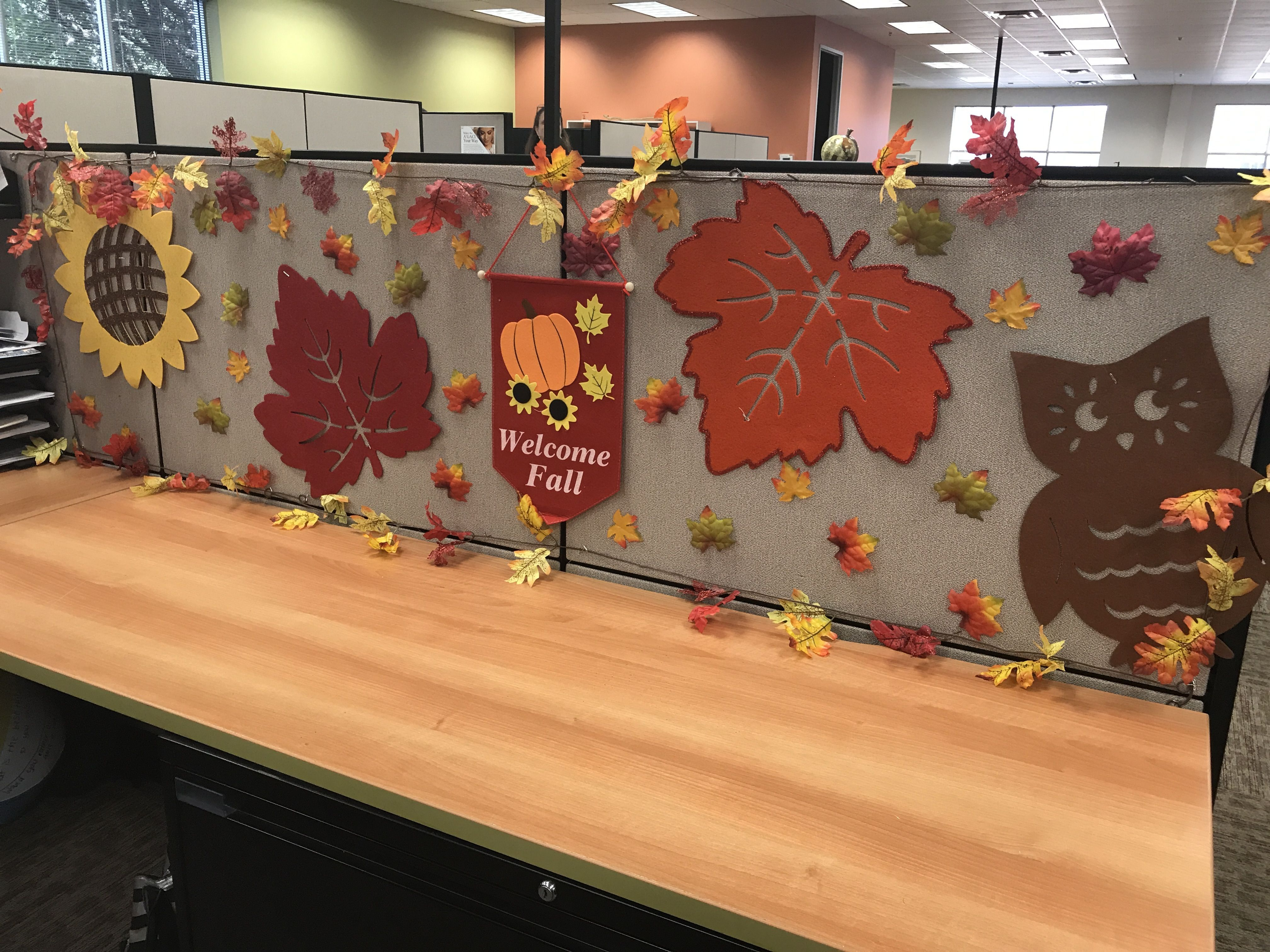 Thanksgiving, and fall cubicle decorating ideas.