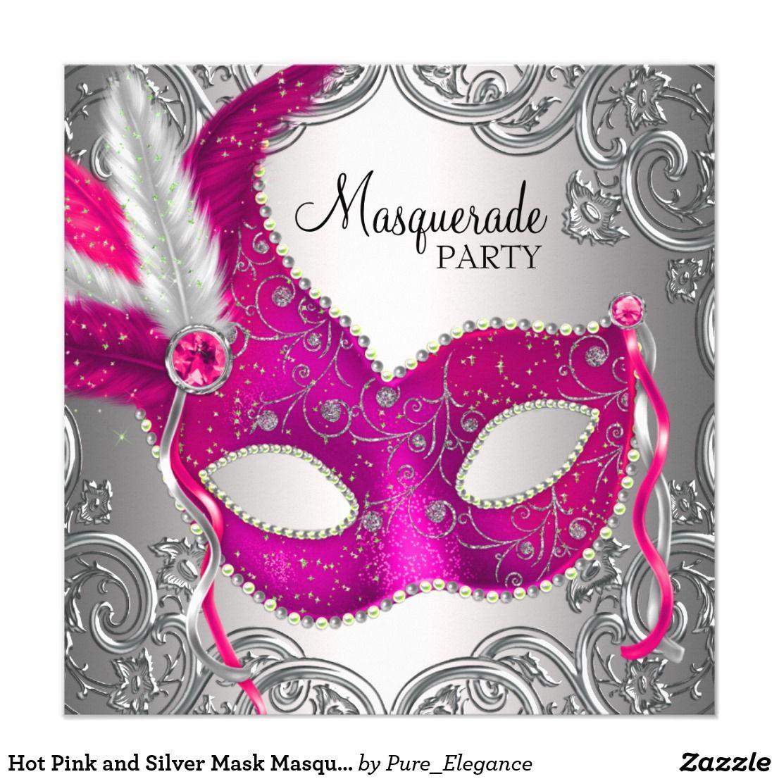 Hot Pink and Silver Mask Masquerade Party Card | Masquerade party ...