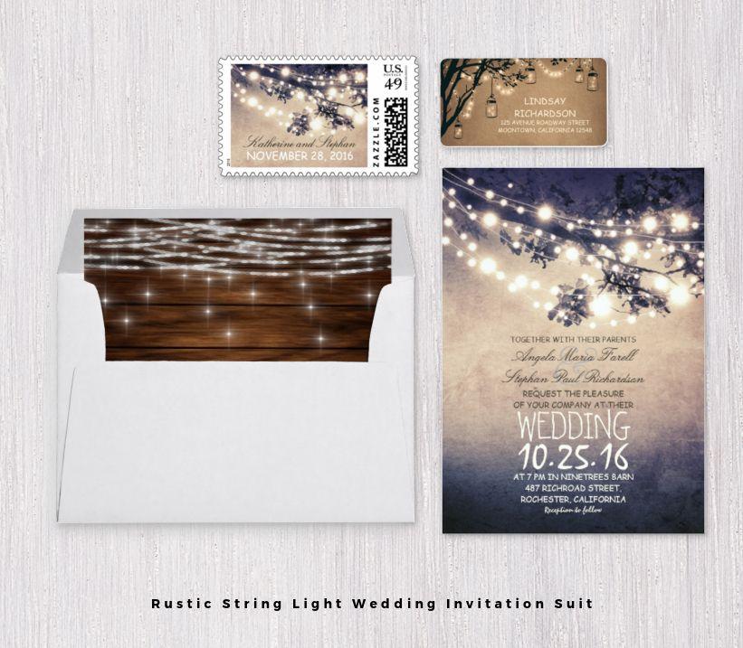 Rustic String Light Wedding Invitation Suit