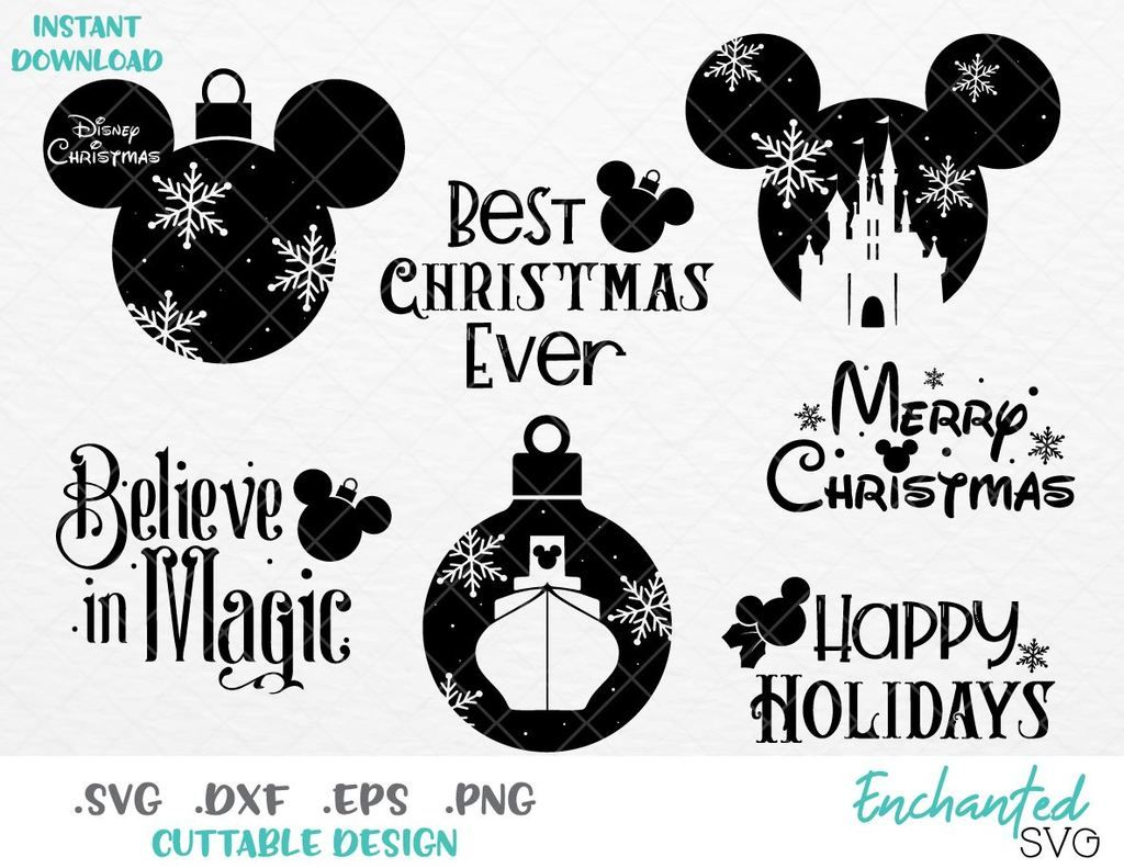 Mickey Ears Disney Christmas Inspired Bundle SVG, EPS, DXF