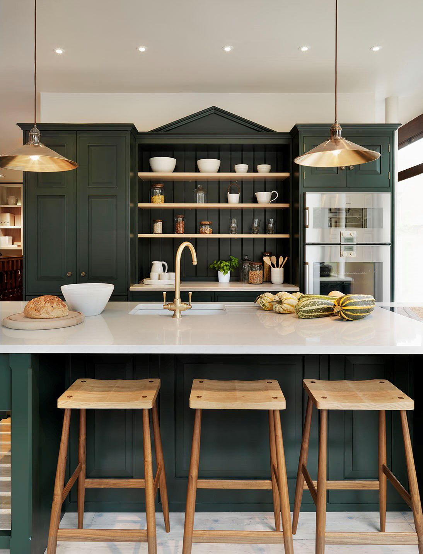 Green kitchens nest pinterest kitchen green kitchen cabinets