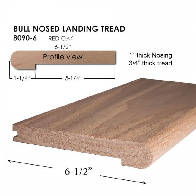 8090 6 Red Oak Bull Nose Landing Tread Red Oak Wood Stair Treads Wood Stairs