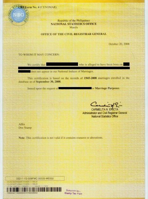 Sample Authorization Letter For Nso Birth Certificate Cenomar July