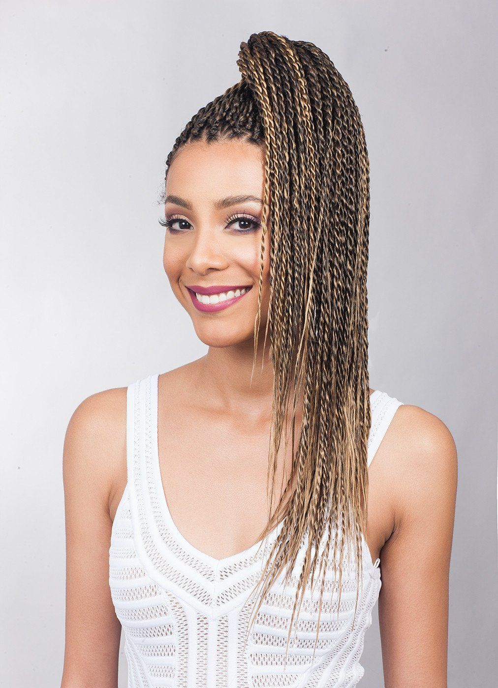 "Feather Tip 54"" Braid Synthetic PreFeathered Crochet Hair"