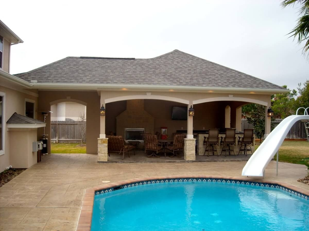 pool house kitchen. Recent Project For A Pool House With Outdoor Kitchen And Fireplace In Cypress, Texas.