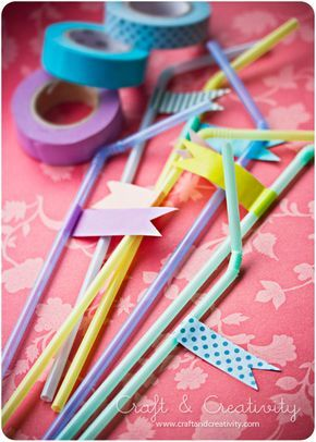 Washitejpade sugrör -Washi taped party straws