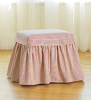 Ottoman Slipcover In Ticking Ottoman Slipcover Slipcovers Striped Furniture