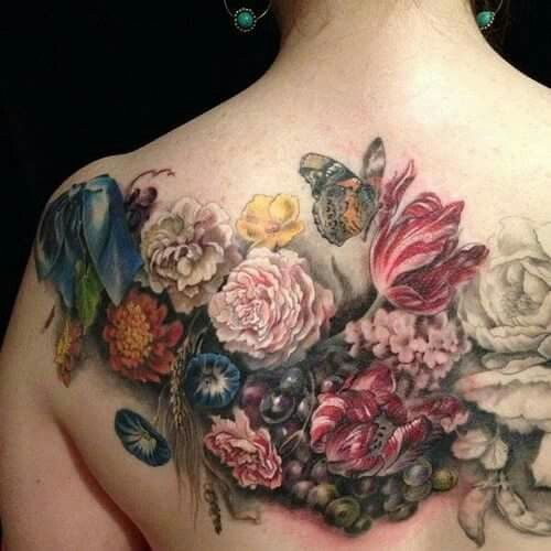 Flowers Oil Painting Tattoos Cover Tattoo Cover Up Tattoos