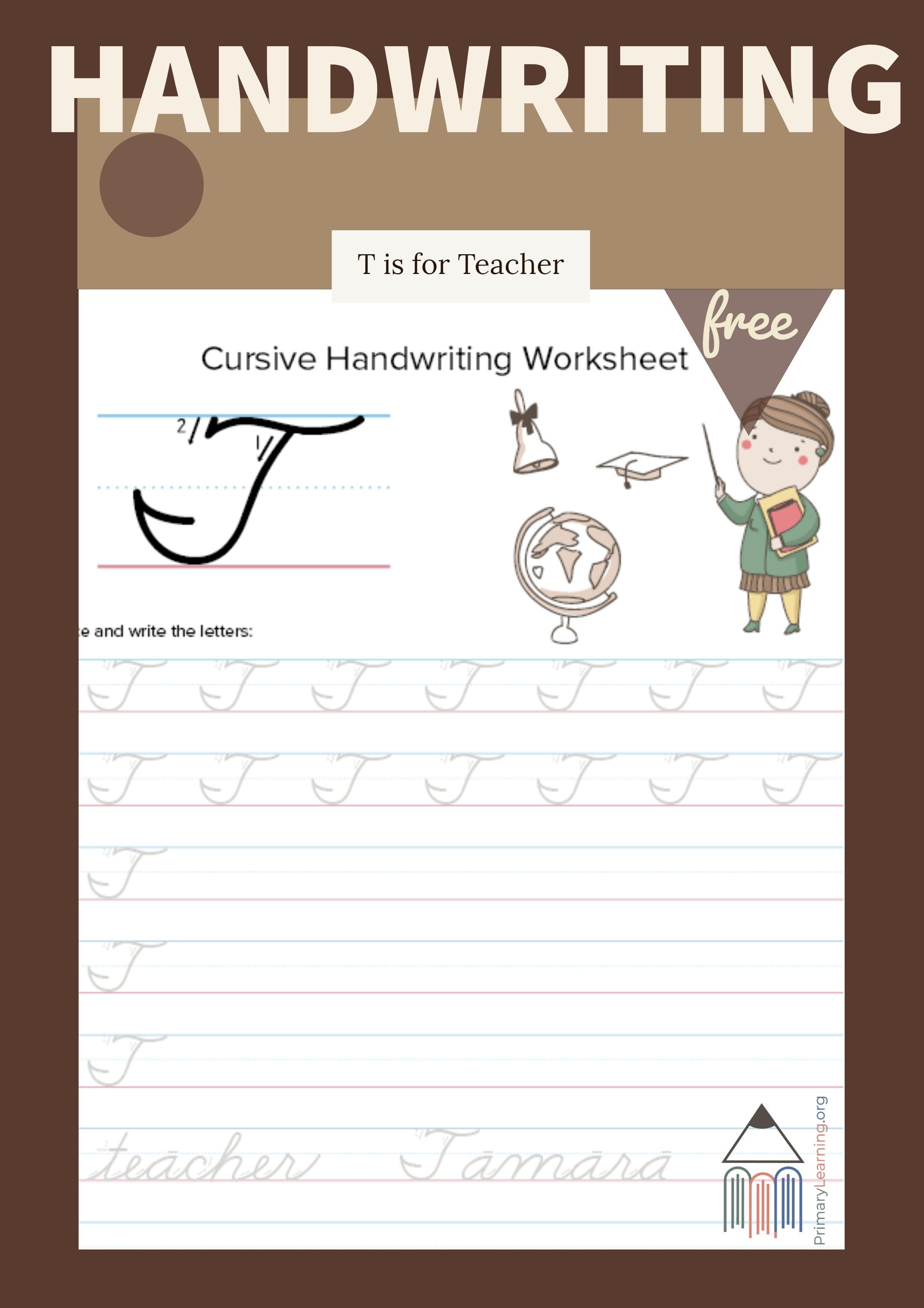 Cursive Uppercase T Worksheet
