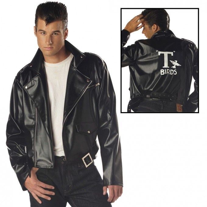 """GREASER T BIRDS  JACKET GREASE MOVIE MALE MAN BLACK T BIRD /""""LEATHER LOOK/"""""""