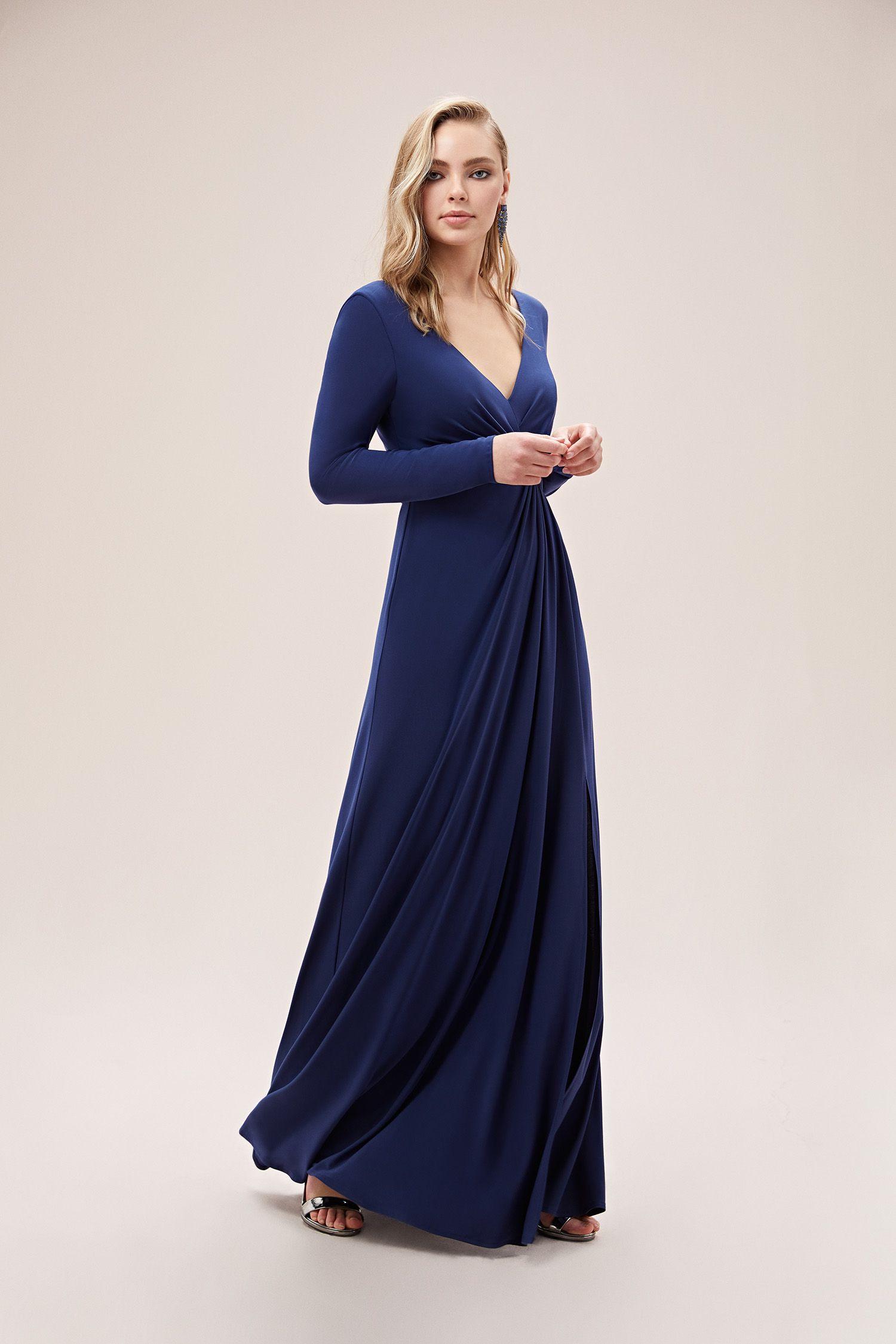 Gece Mavisi Uzun Kollu V Yaka Uzun Jarse Abiye Elbise Oleg Cassini 2020 Elbise Uzun Kollu Moda Stilleri