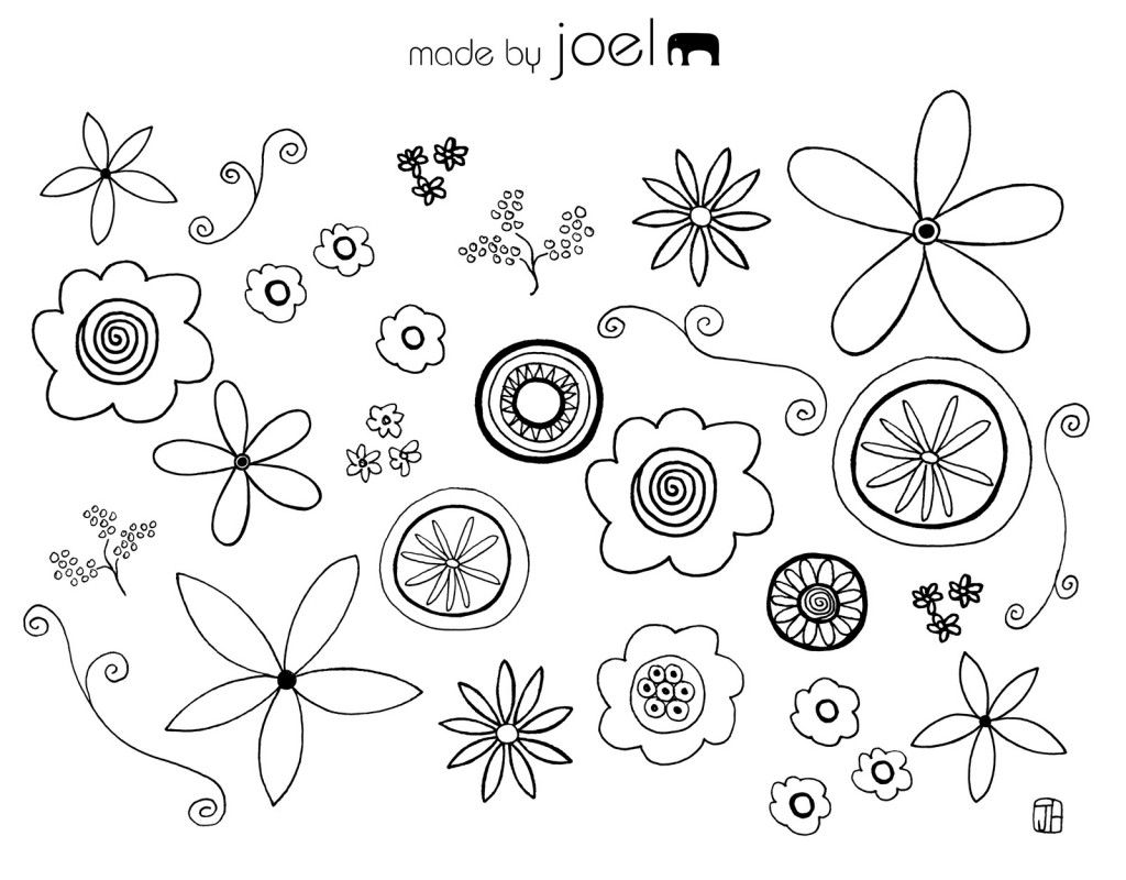 Flower coloring pages printable free - Free Doodle Collage Sheet Printable Kids Coloring Sheetsflower