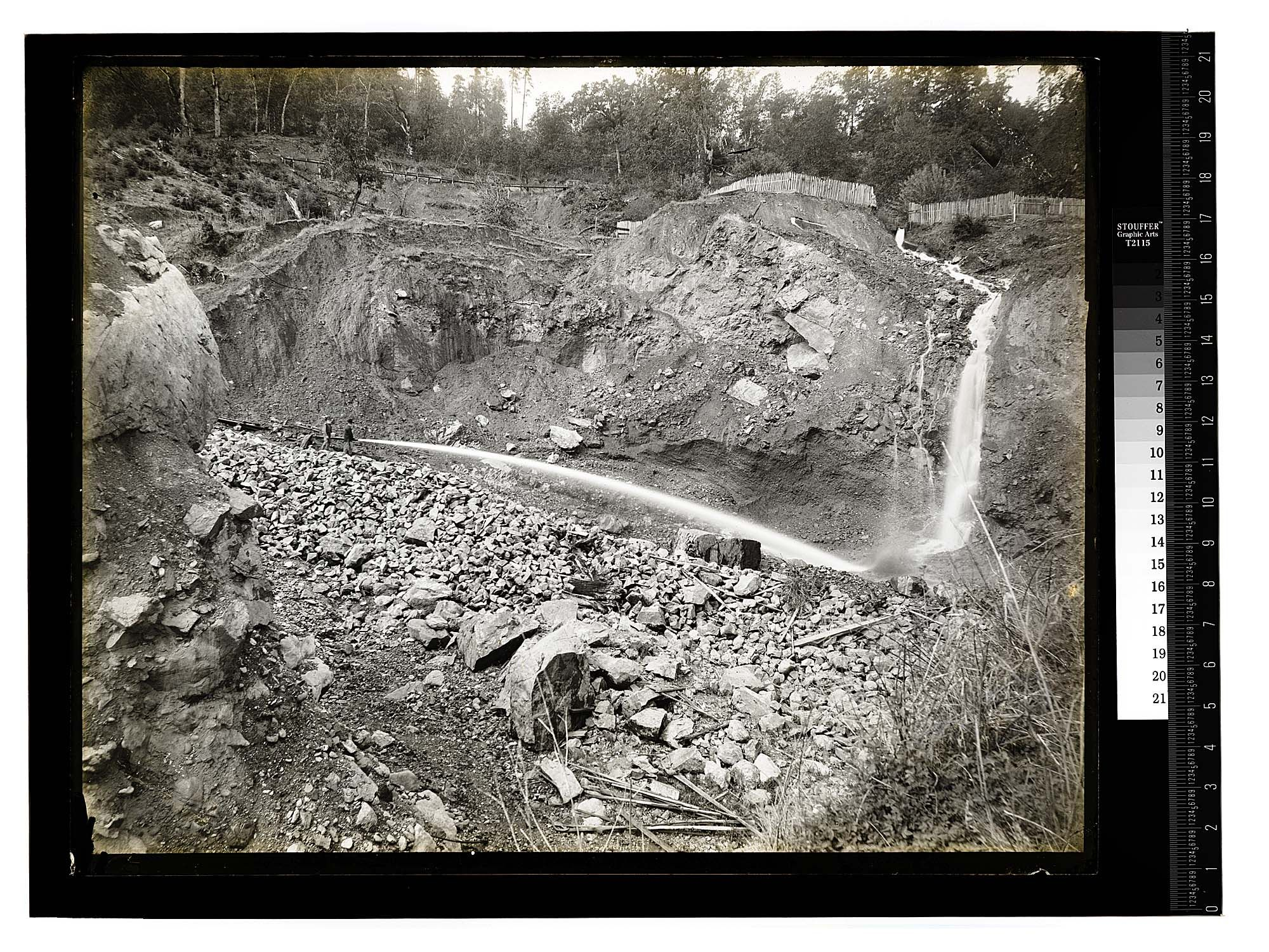 Ten Eyck's Gold Mine, Klamath River/Scene in Humboldt County [Hydraulic Mining - Orleans/unknown] Date: Unknown Ericson Photograph Collection, Region 01 North and northeastern Humboldt Count Humboldt State University Library