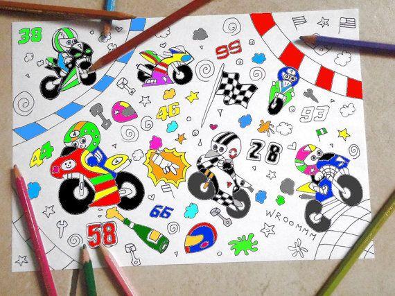 Pagina Da Colorare Bambini Moto Motocicletta Motogp Motori Motociclista Kawaii Stampabile Instant Download Disegno Digitale Lasoffittadiste Coloring For Kids Coloring Pages For Kids Diy Book
