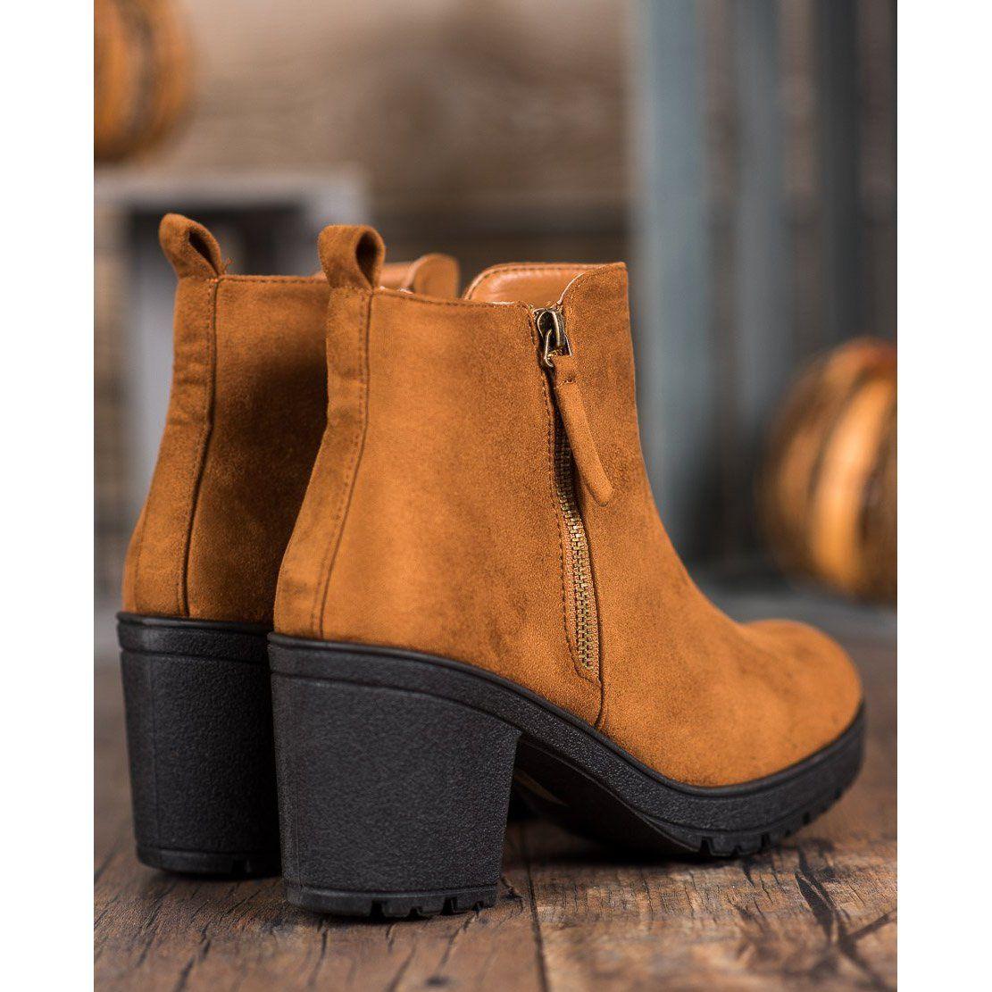 Shelovet Wygodne Botki Na Platformie Brazowe Chelsea Boots Boots Shoes