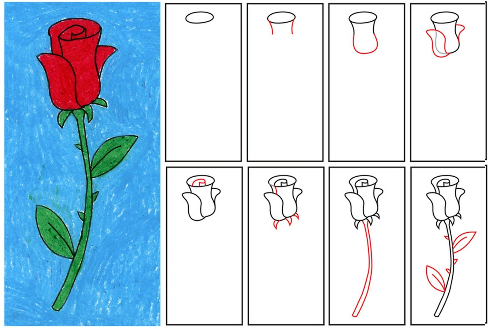 Learn how to draw a rose!  1. Follow the steps shown to draw your flower with a pencil. The gray lines indicate erasing. 2. Trace your flower with a Sharpie marker. 3. This flower is colored in with Portfolio® Oil Pastels, but any bright colors will do.  www.artprojectsforkids.org