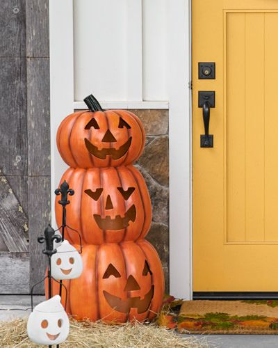 Designed exclusively for Balsam Hill™, our stacked pumpkins create a - create halloween decorations