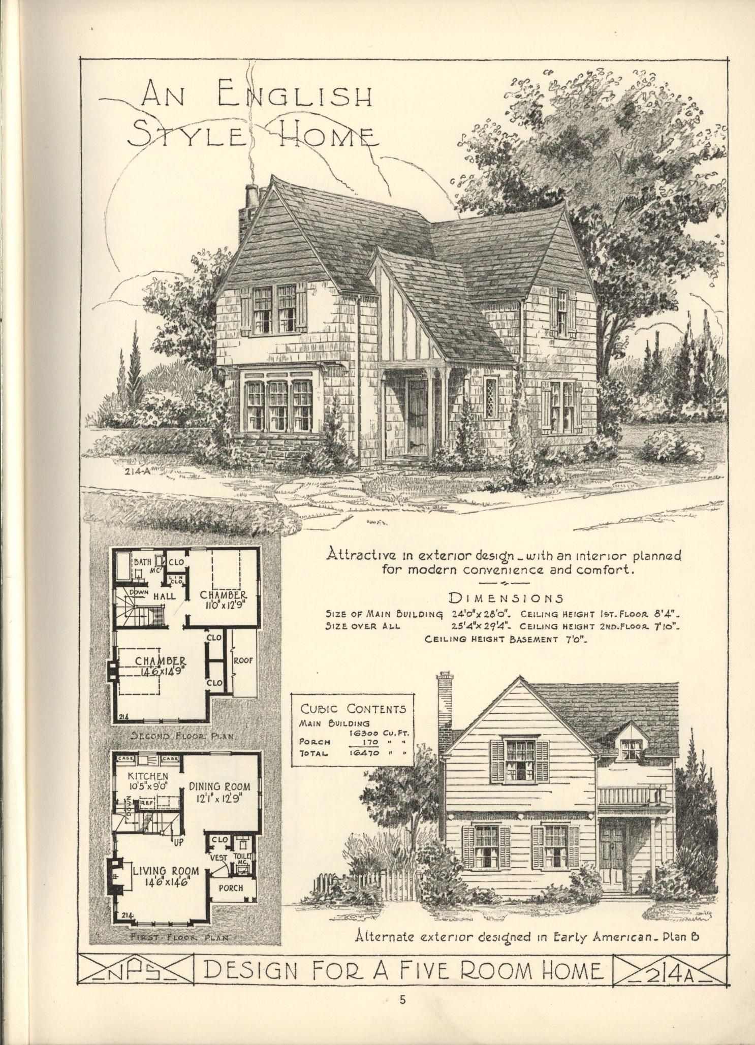 Simple English cottage floor plan | Small Home Plans and
