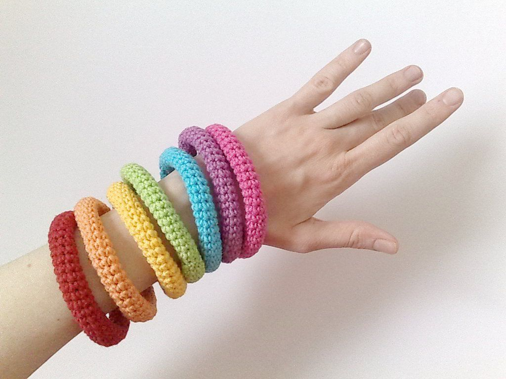 7 Crochet Bracelets Rainbow Neon Kawaii Fashion 35 00 Via Etsy