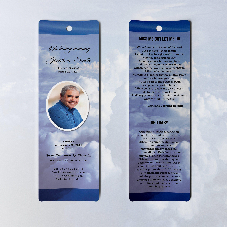 Funeral Bookmark Template Printable Bookmark Microsoft Word Etsy Funeral Program Template Bookmark Template Funeral Programs