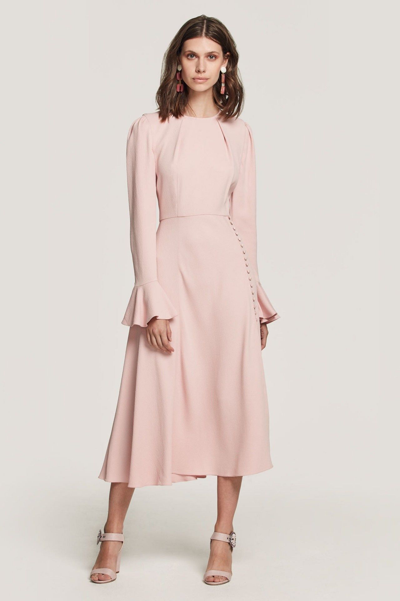 2bb5672d52 In a soft pink crepe, the Yahvi dress is modest and refined with fluted  sleeves, leading to a floaty skirt with button detail and split to give  great ...
