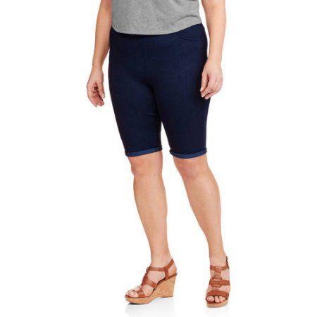 c5a5f55b38c Faded Glory Women s Plus-Size Knit Jegging Bermuda Shorts