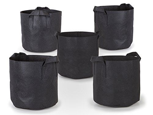 247Garden 5Pack 7 Gallon Grow Bags Aeration Fabric Pots WHandles Black *  Check Out The Image