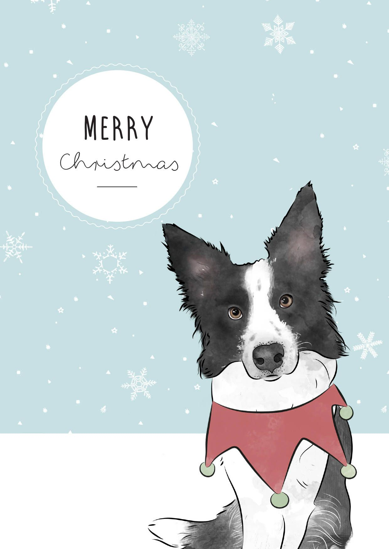 Border Collie Christmas Print - border collie - merry christmas ...