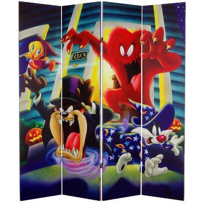 """Oriental Furniture 71"""" x 63"""" Tall Double Sided Tasmanian Devil and Bugs Bunny 4 Panel Room Divider"""