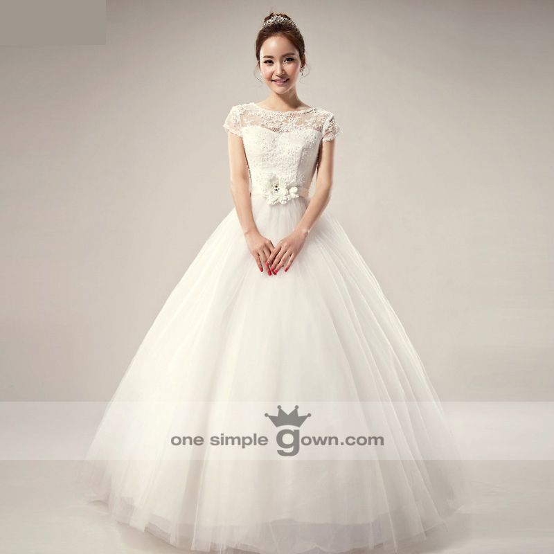 Short Sleeve Floor Length Ball Gown Wedding Dress