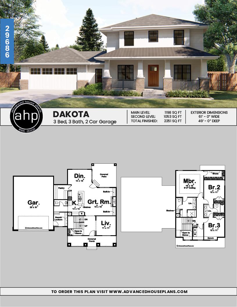 2 Story Prairie Style House Plan Dakota Prairie Style Houses Advanced House Plans House Plans
