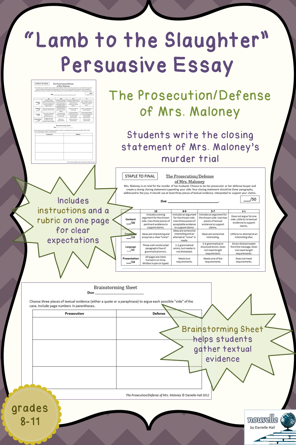 lamb to the slaughter persuasive essay the prosecution defense an argumentative persuasive essay about roald dahl s story lamb to the slaughter