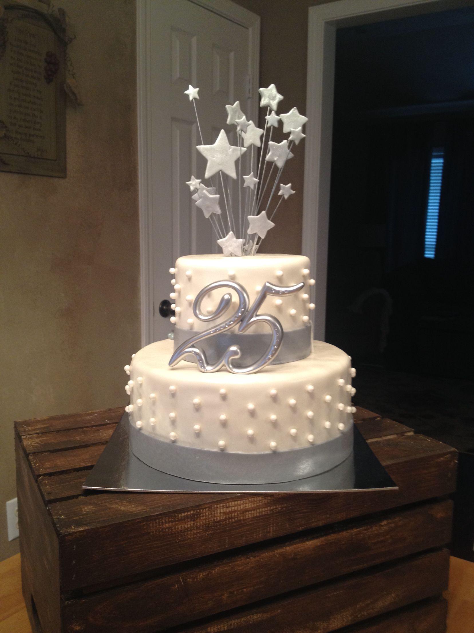 25th wedding anniversary cake silver # ...