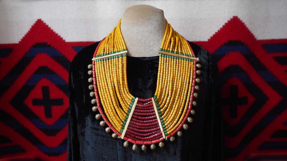 Eye Catcher Bold traditional Naga 15 strand necklace, tribal colors, stunning by MorningDoveDesign on Etsy