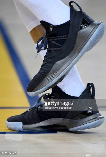 """ae7d1fab1585 A detailed view of a new Stephen Curry Under Armour Basketball """"Pi Day"""" Curry  5 shoe worn by Stephen Curry of the Golden State Warriors while he."""
