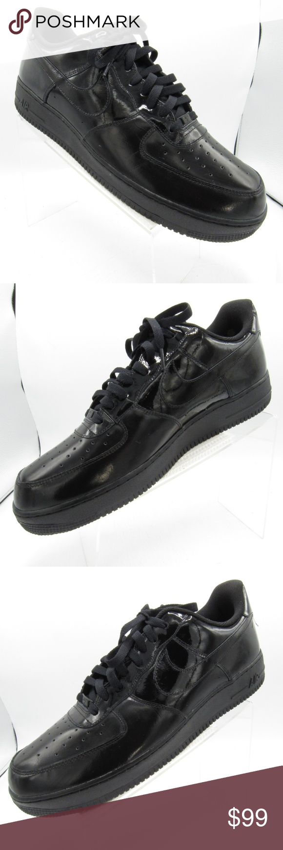 free shipping cd8a7 a1c53 Nike Air Force 1 Size 15 Black Leather Mens Shoes Nike Air Force 1 488298-