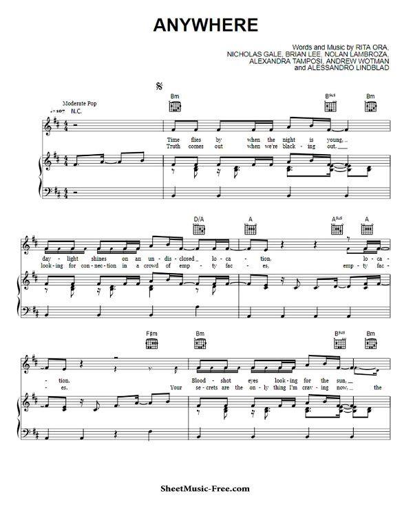 Anywhere Sheet Music Rita Ora Sheet Music Sheet Music Pdf