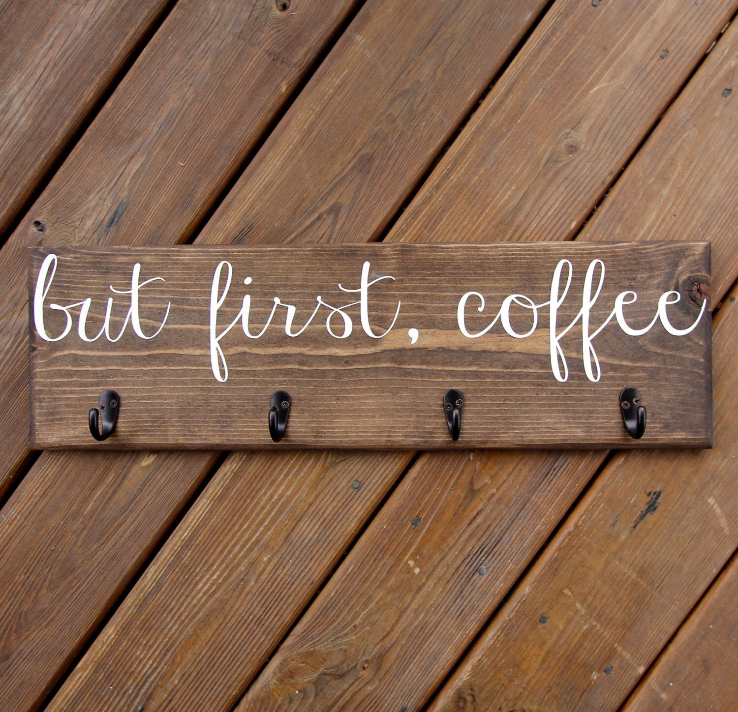 But First Coffee Cup Rack Mug Sign With Hooks Hanger Custom Kitchen Wood Decor